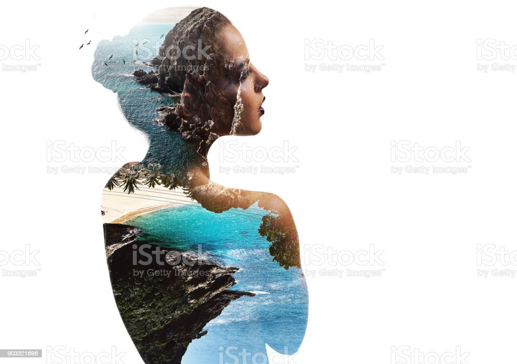 Double exposure. Woman and nature stock photo
