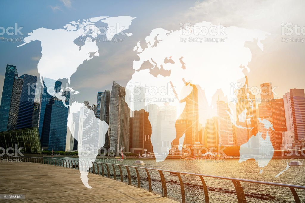 Double exposure world map and Singapore city background. Elements of this image furnished by NASA stock photo