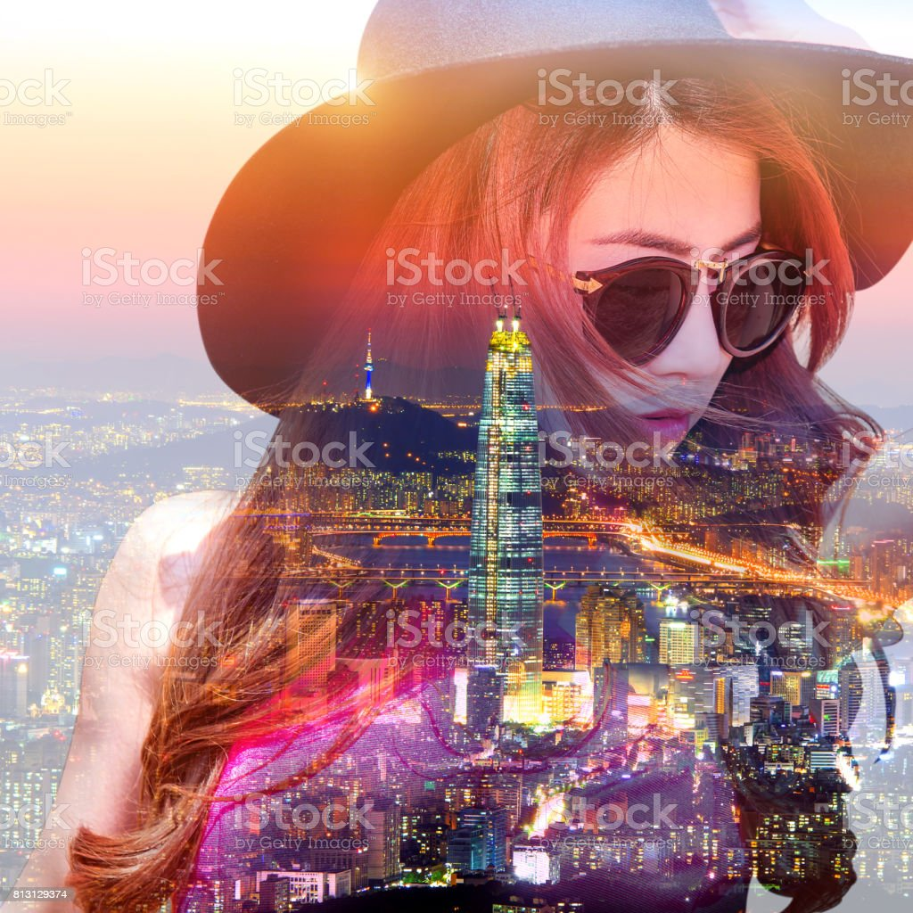 Double exposure,Beautiful girl and cityscape. stock photo