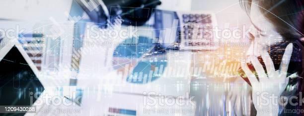 Double exposurebusiness woman working in officeanalyze document on picture id1209430258?b=1&k=6&m=1209430258&s=612x612&h=eyznzzlthmcm2inl8zu9wksuikyiibphkmjy3gpvzli=