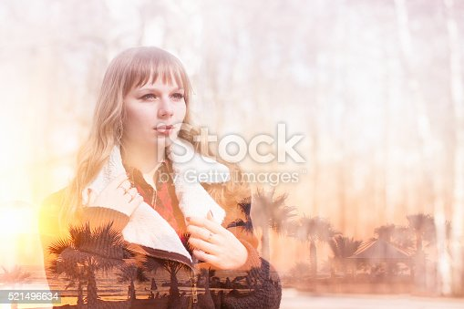 624717328istockphoto Double exposureof woman and summer sunset at the sea 521496634