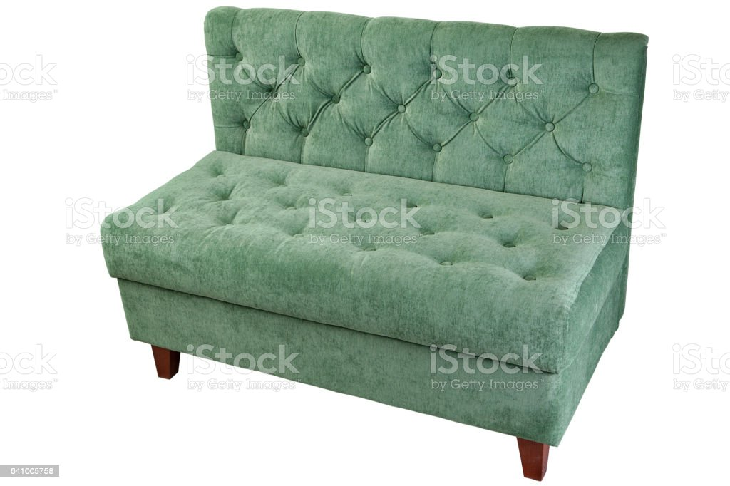 Double fabric couch with green, on white, clipping path saved. stock photo