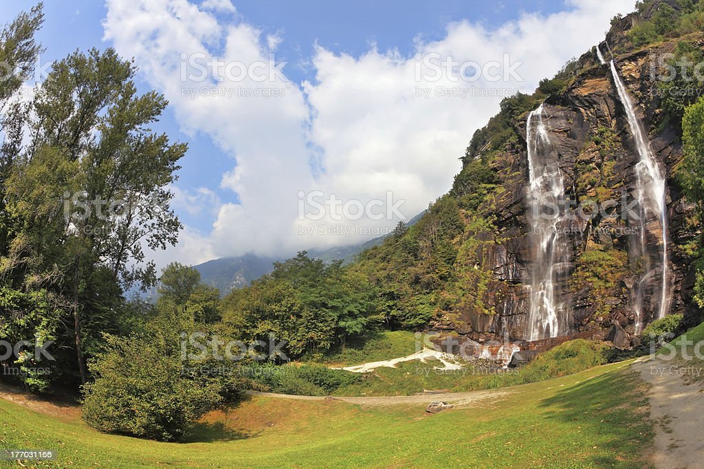 Double falls in mountains of Italy stock photo