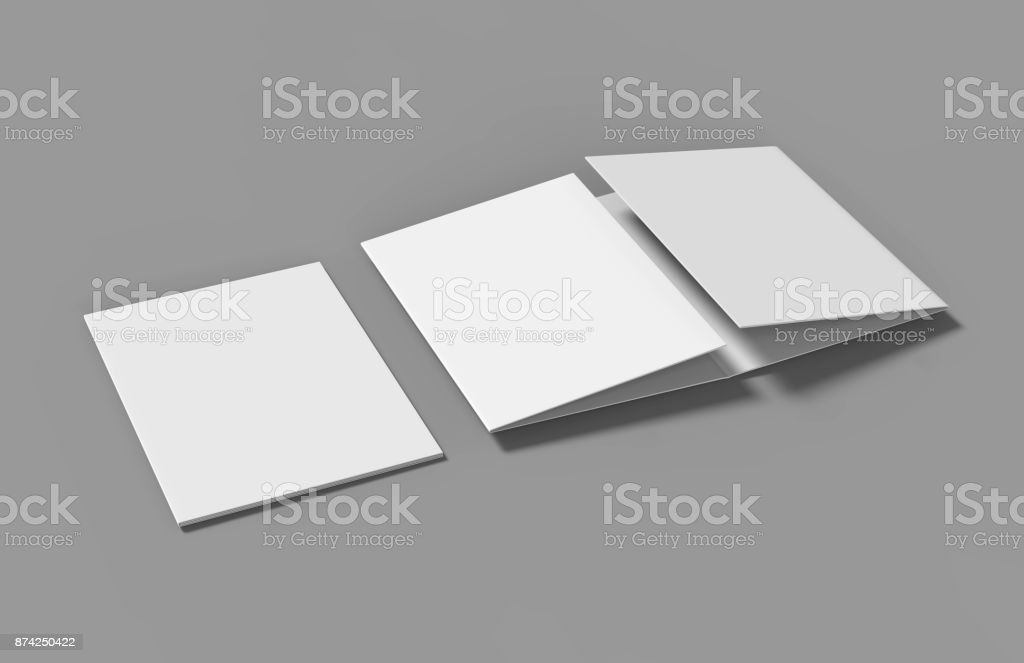 Double Gate Fold Brochure Blank White Template For Mock Up