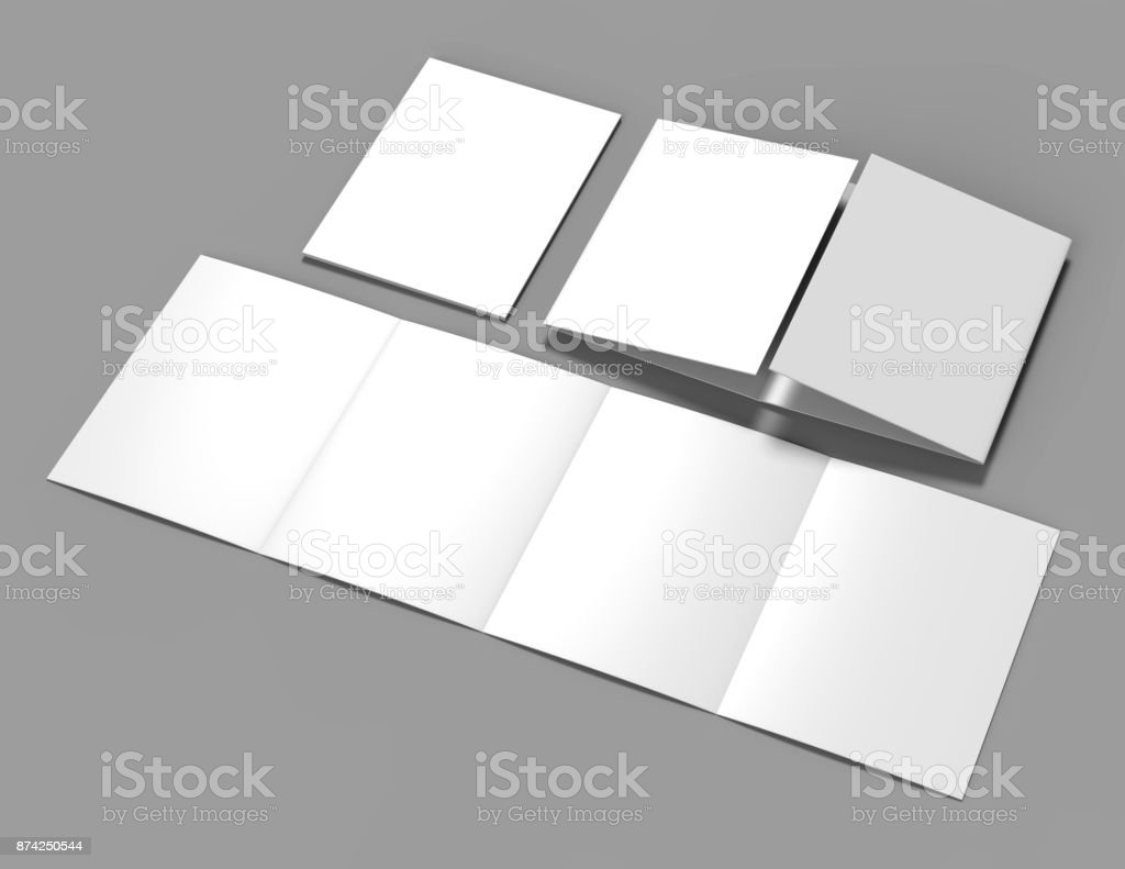 double gate fold brochure blank white template for mock up and presentation design 3d illustration