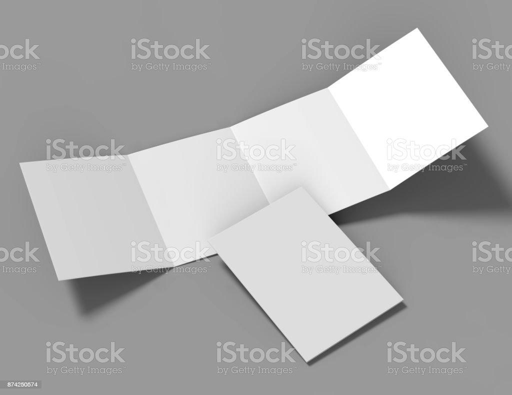 Double Gate Fold Brochure Blank White Template For Mock Up And - Double gate fold brochure template