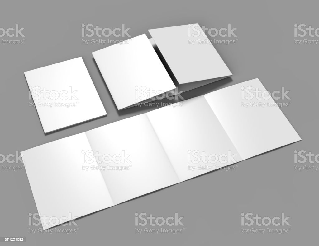 Double Gate Fold Brochure Blank White Template For Mock Up And - Double gate fold brochure template