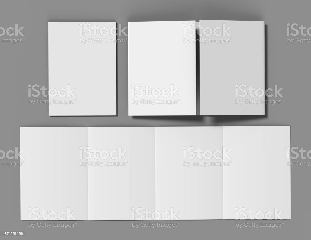 Double gate fold brochure blank white template for mock up and presentation design. 3d illustration. stock photo