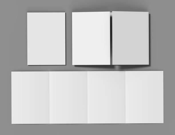 double gate fold brochure blank white template for mock up and presentation design. 3d illustration. - portão imagens e fotografias de stock