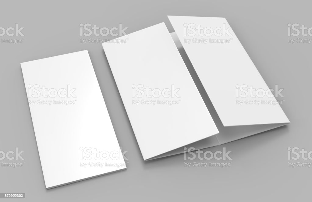 Double gate fold vertical four panel brochure blank white template for mock up and presentation design. 3d illustration. stock photo