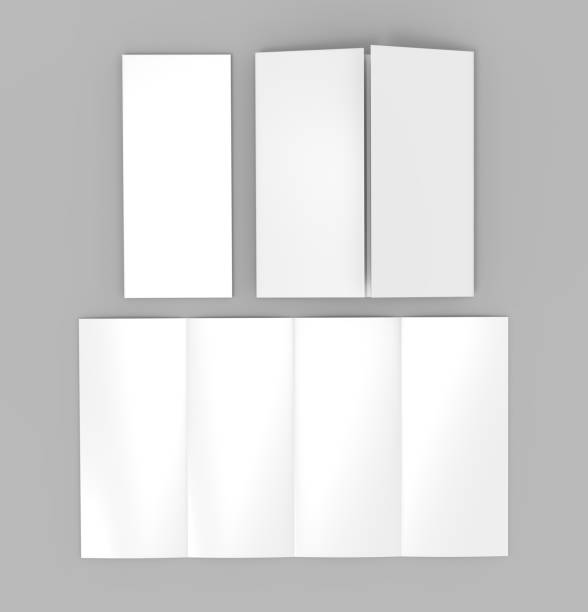 Double gate fold vertical four panel brochure blank white template for mock up and presentation design. 3d illustration. Double gate fold vertical four panel brochure blank white template for mock up and presentation design. number 4 stock pictures, royalty-free photos & images