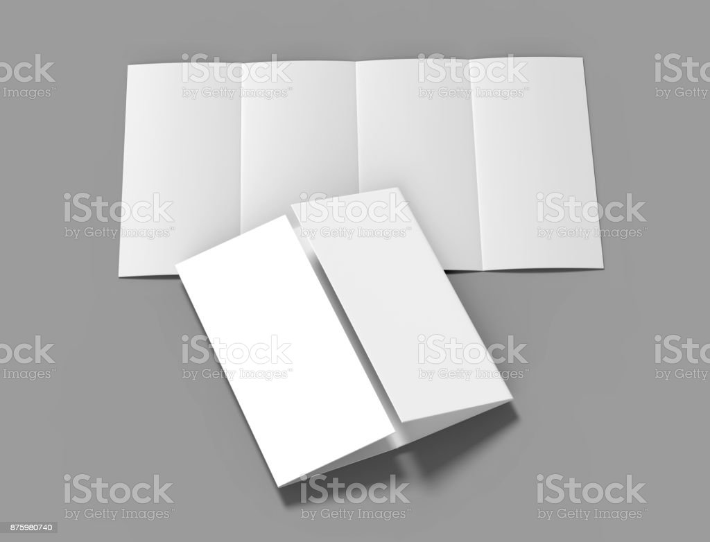 double gate fold vertical four panel brochure blank white template