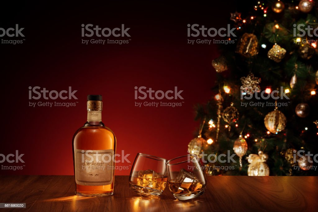 double glass new year stock photo