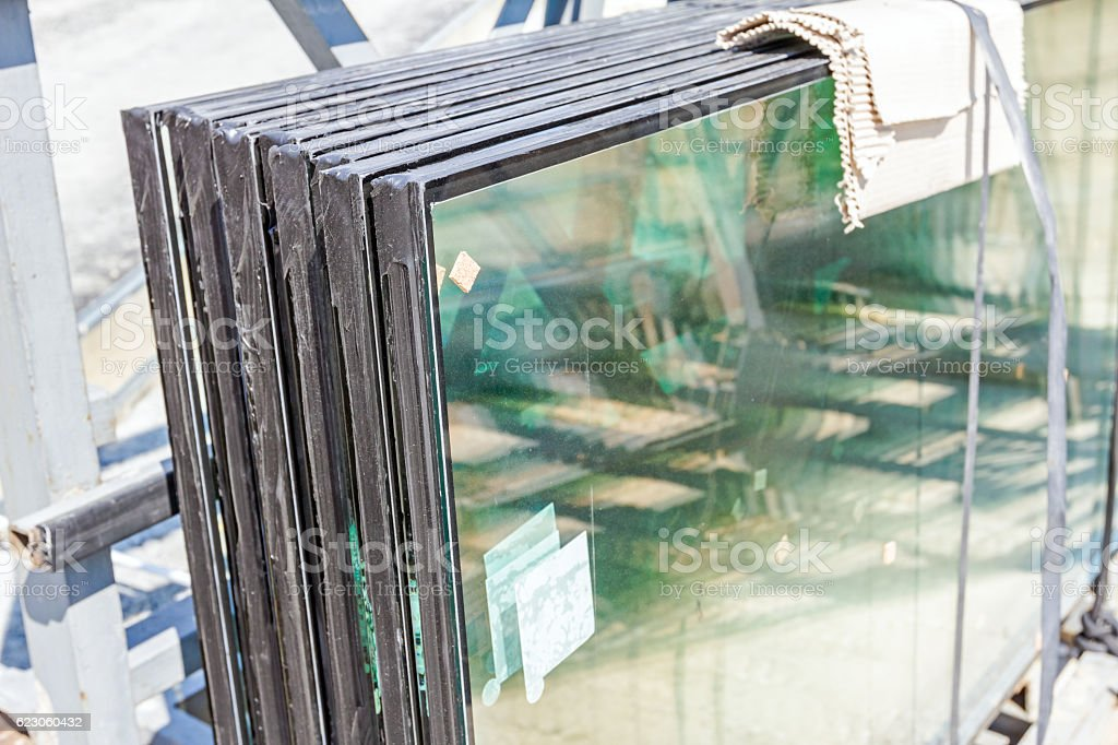 Double glazing thermal pane glass stock photo