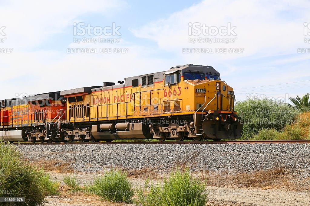 Double Headed Freight Train stock photo