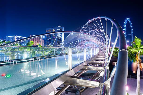 Double Helix Bridge and Flyer, Singapore stock photo