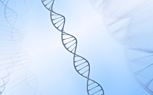 istock DNA Double helix, metal with white and blue background 628615980