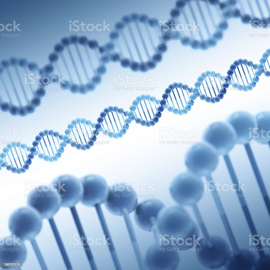DNA Double Helix Molecule Blue royalty-free stock photo