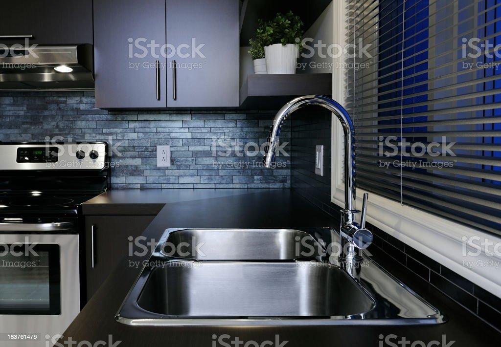 Double kitchen sink stock photo
