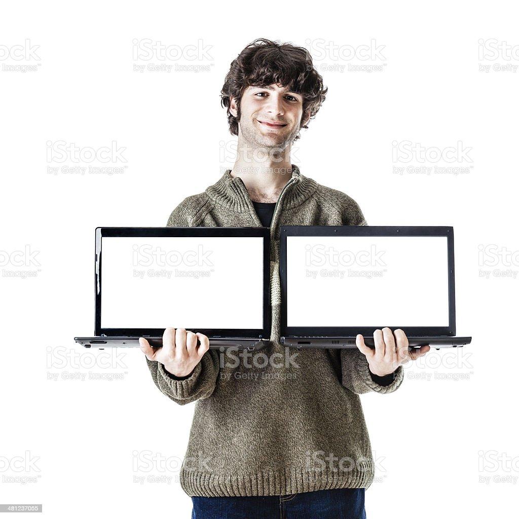 Double laptop stock photo