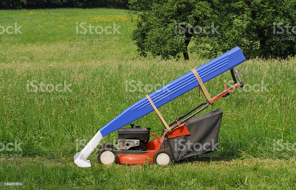 Double Lawn Mower. royalty-free stock photo