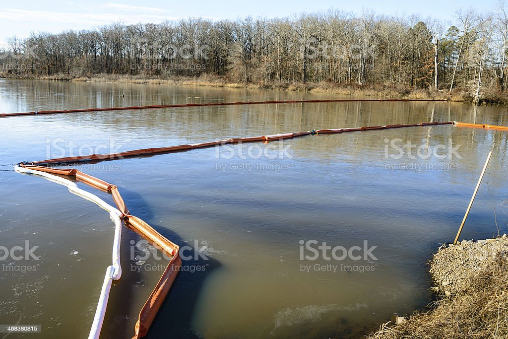 Double layer of oil spill booms royalty-free stock photo