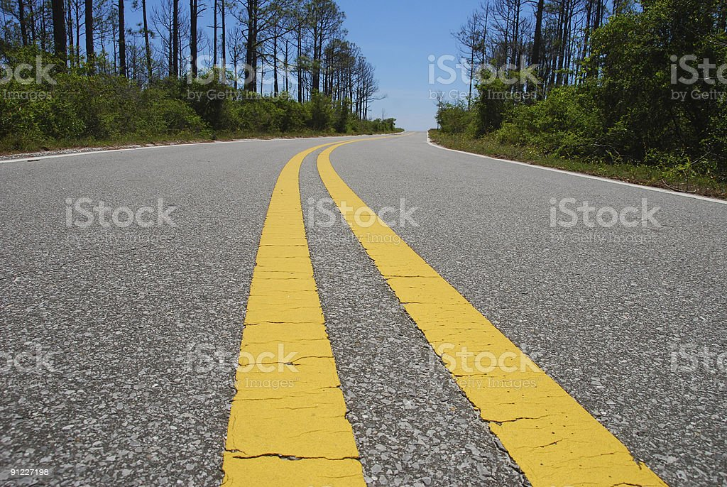 Double Lined Road stock photo