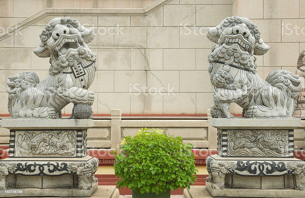double lion statue in front of Chinese temple stock photo