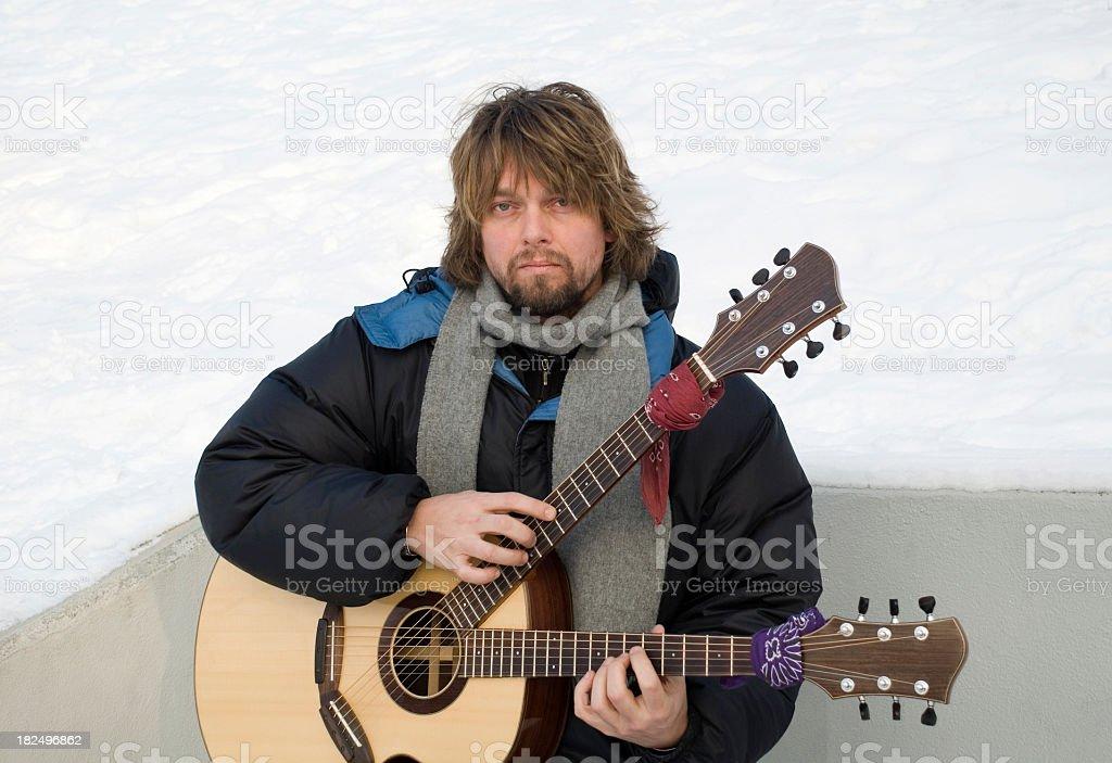 Double neck acoustic stock photo