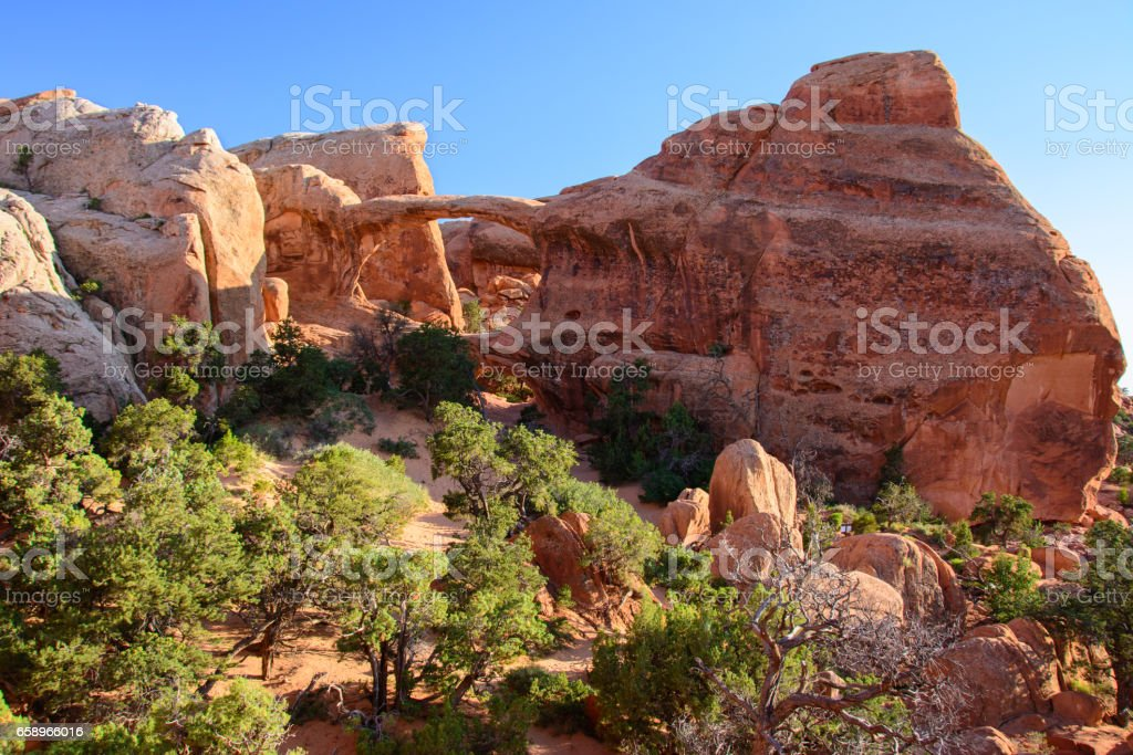 Double O Arch in Arches National Park, Moab, Utah stock photo