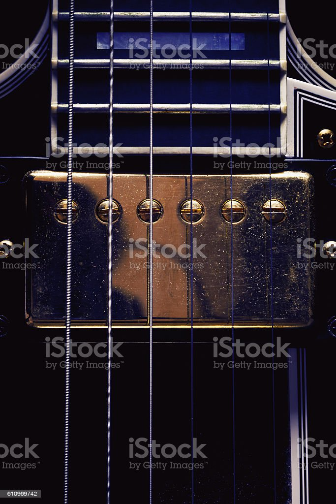 Double Pickup on Electric Guitar stock photo