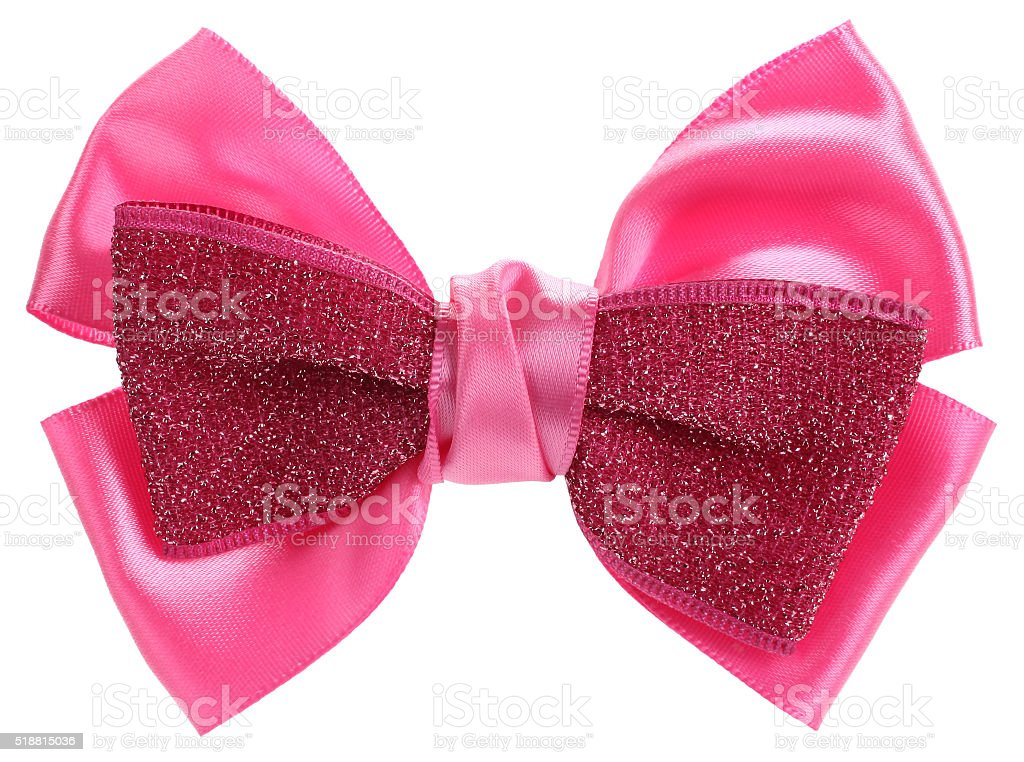 Double pink hair bow tie with sequins stock photo