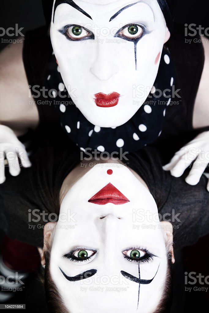 double portrait mimes with green eyes royalty-free stock photo
