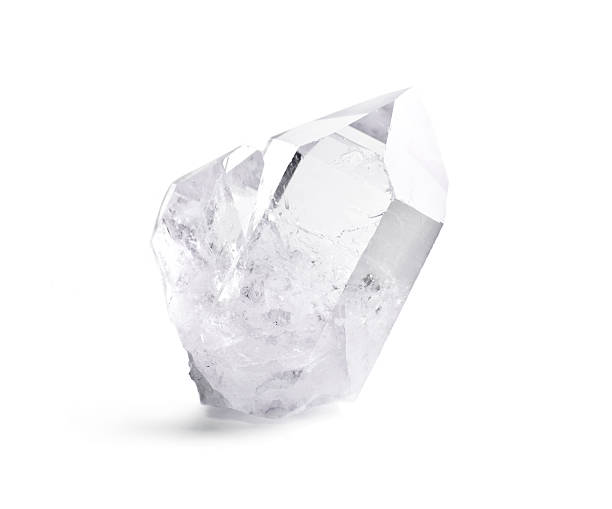 Double quartz crystal Big natural double quartz crystal isolated on white. stone object stock pictures, royalty-free photos & images