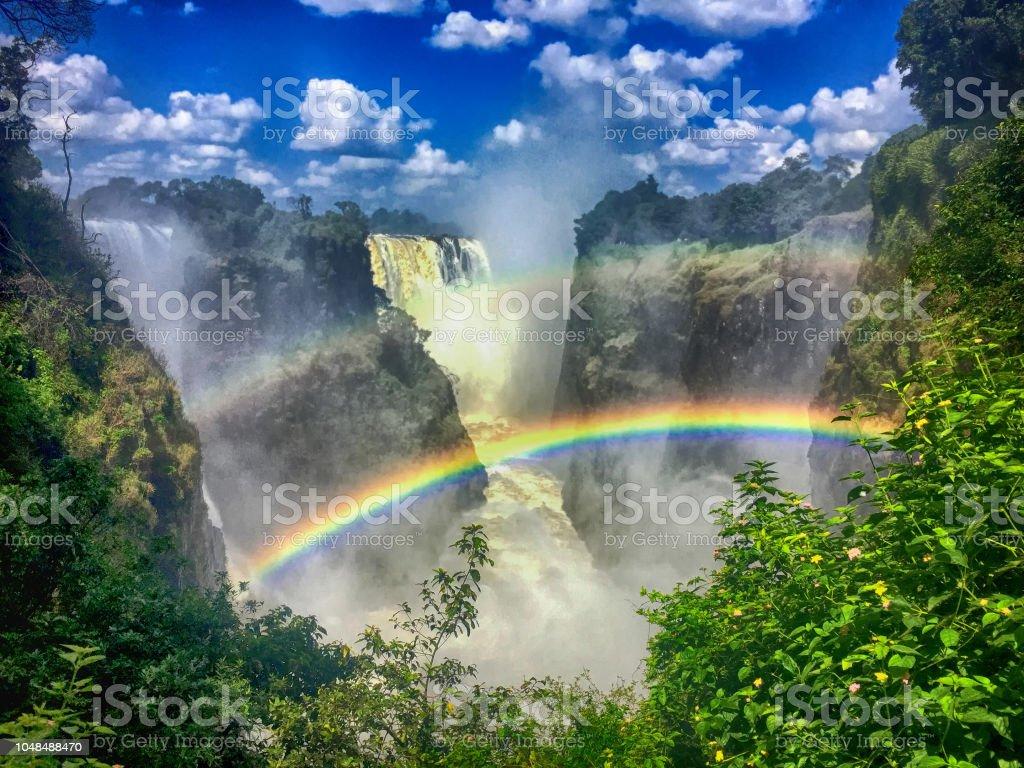Doppelter Regenbogen an den Victoria Fällen in Sambia - Lizenzfrei Afrika Stock-Foto