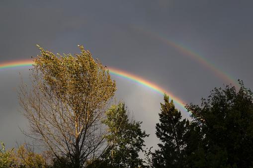 Double Rainbow in Cloudy Sky