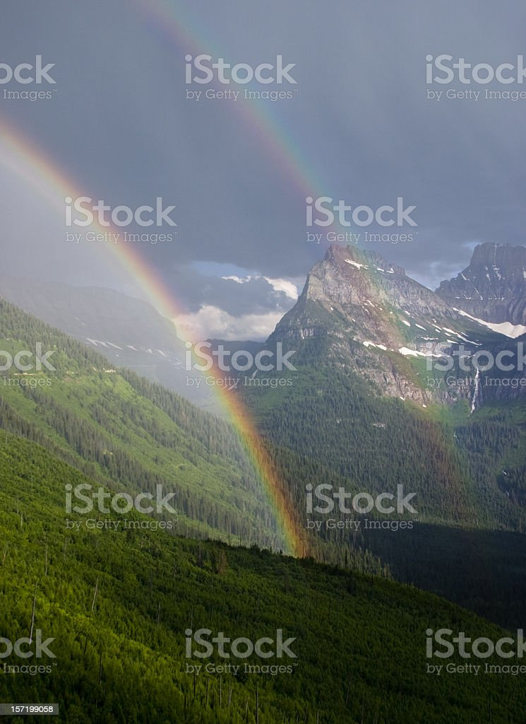 Double Rainbow in Glacier National Park, Montana royalty-free stock photo