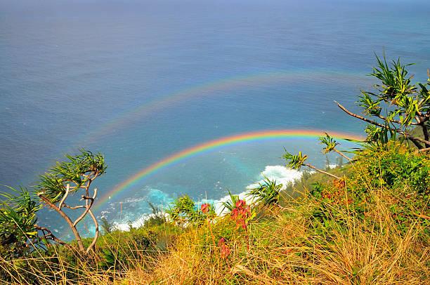 Doppelter Regenbogen über den Kalalau Trail – Foto