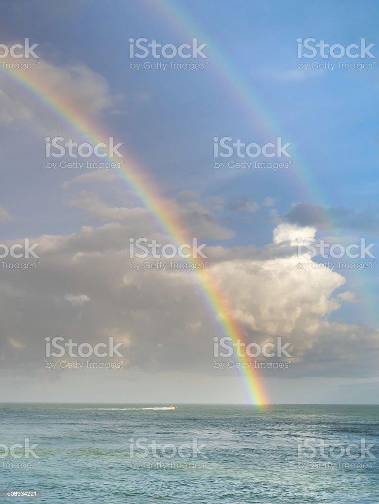 Double Rainbow over Ocean stock photo