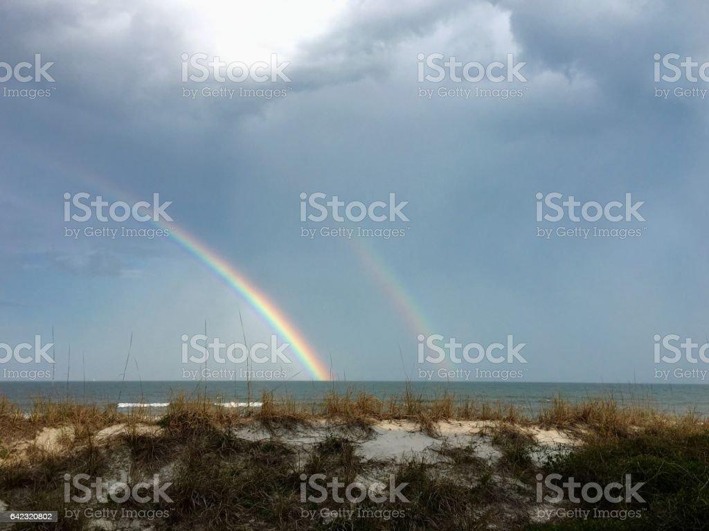 Double Rainbow over the Atlantic Ocean stock photo