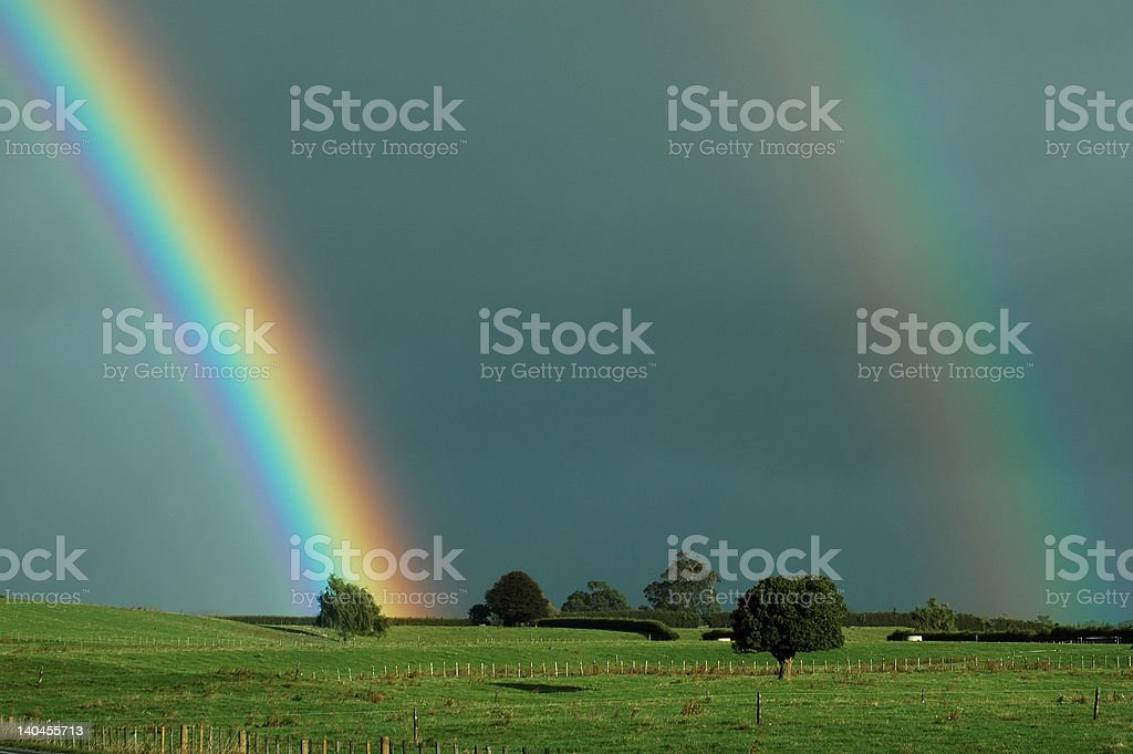 Double Rural Rainbow royalty-free stock photo