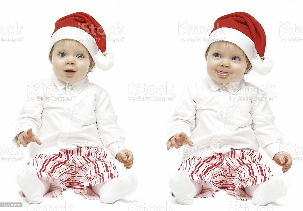 Double Santa baby royalty-free stock photo