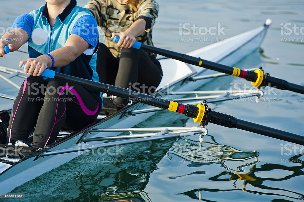 Double scull rowing team stock photo