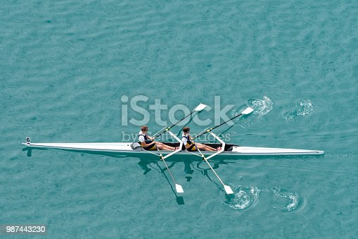 Upper view of double scull rowing team on the water
