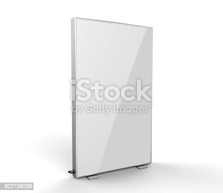 istock Double side advertising light box reinforced frame less lighted sign box. 3d render illustration. 922739288