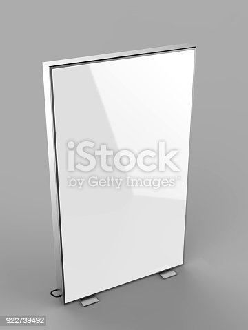 istock Double side advertising light box reinforced frame less lighted sign box. 3d render illustration. 922739492
