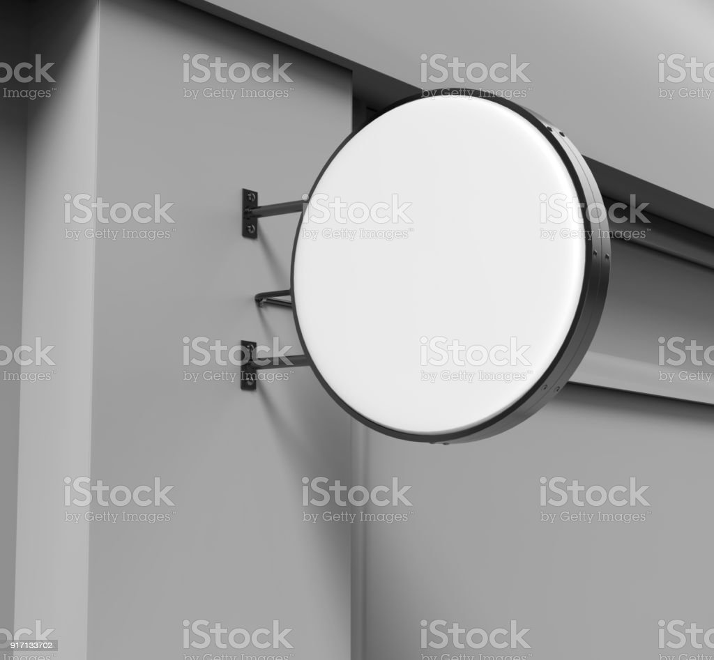 Double sided Back lit signage circular board, led glow advertising board, vinyl company sign on brick wall. 3d render illustration. stock photo