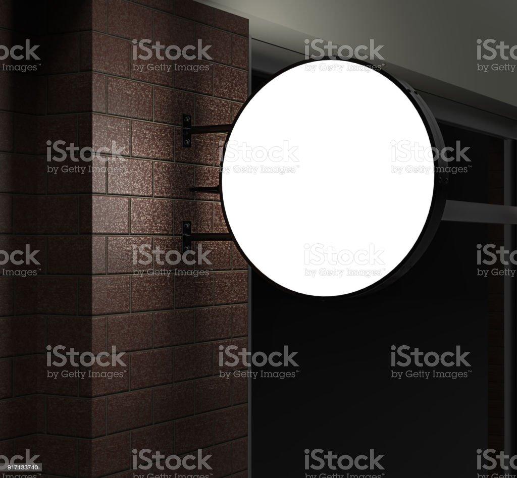 Recto-verso rétro éclairé jury circulaire de signalisation, panneau publicitaire led glow, vinyle société signe sur le mur de briques. illustration de rendu 3D. - Photo