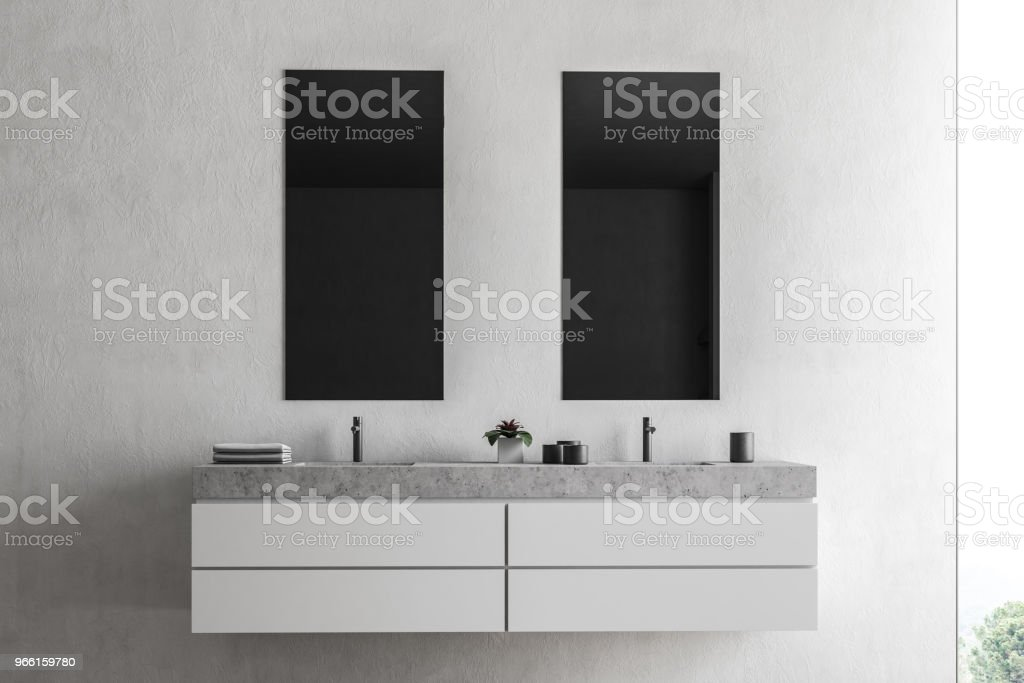 Double sink in a white bathroom - Royalty-free Apartment Stock Photo