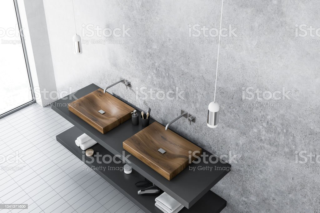 Double Sink Top View Concrete Bathroom Stock Photo   Download Image Now